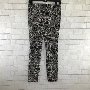 Zara Woman Black & White Paisley Skinny Pants, XS